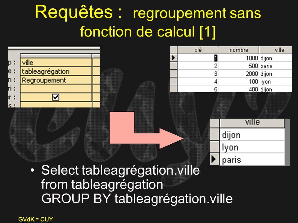 Requêtes : regroupement sans fonction de calcul [1]
